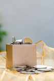 Gift box with coin Royalty Free Stock Image