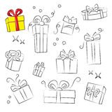 Gift Box Collection. Easy to colorize Stock Photo