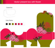 Gift box collection. Template vector box with red flowers vector illustration