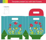 Gift box collection. Template gift box with field flowers Vector Illustration