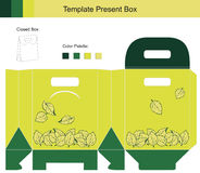 Gift box collection. Template gift box with leaves pattern Stock Illustration