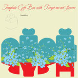 Gift box collection. Template gift box for wedding favors. Forget-me-not flowers bouquet Stock Illustration