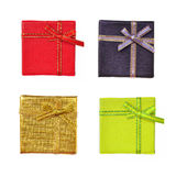 Gift box collection. Yellow gold purple and red Stock Photo