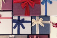 Gift box collection, directly above. Christmas holiday concept. royalty free stock images