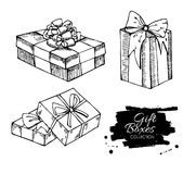 Gift box collection. Hand drawn illustrations. Stock Images
