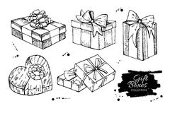 Gift box collection. Hand drawn illustrations. Stock Image