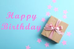 Gift box on color background and space for text stock photos