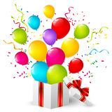 Gift box with color balloons Stock Image