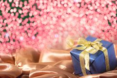 Gift box with bokeh background stock photo
