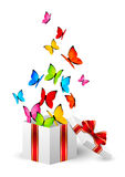 Gift box with color butterflies Stock Images