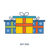 Gift box. Color Line icons. Stock Photo