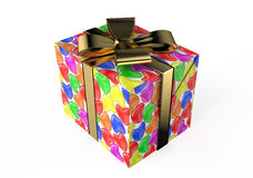 Gift box with colored hearts. Gift box with  colored hearts isolated on white background Royalty Free Stock Photo