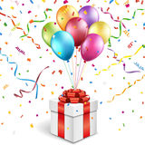 Gift box with colorful balloons Royalty Free Stock Photography