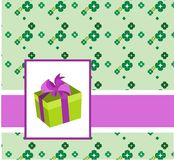 Gift box on colorful birthday card Stock Photography
