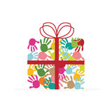 Gift box with colorful handprints vector Royalty Free Stock Images