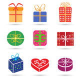 Gift box colorful icon set different styles Stock Images