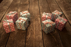 Gift Box. Colorful Gift Box on Wooden Royalty Free Stock Photo
