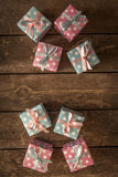 Gift Box. Colorful Gift Box on Wooden Stock Photo