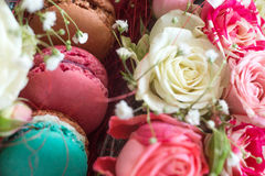 Gift Box of Colourful Macaron with Flowers. Natural light, Bloom Box Royalty Free Stock Photo