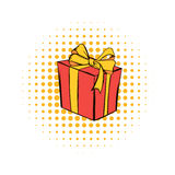 Gift box comics icon. On a white background Stock Photography
