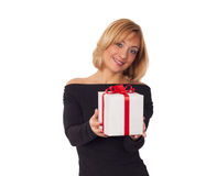 Gift box concept. Beautiful young woman holding gift box Royalty Free Stock Photos