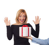 Gift box concept. Close up of man giving gift box to woman Royalty Free Stock Photos