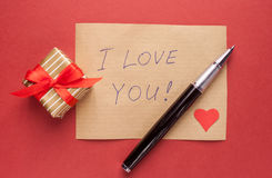 Gift box and confession letter Royalty Free Stock Photography
