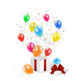 Gift box with confetti and balloons. Gift box with balloons, confetti and tinsel on white background, illustration Royalty Free Stock Photos