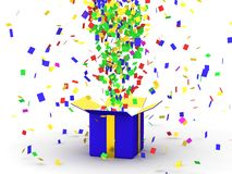 Gift Box with Confetti Royalty Free Stock Photo