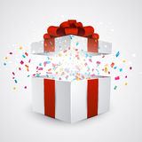 Gift box with confetti vector illustration