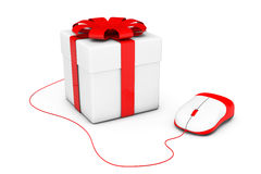 Gift box connected to a computer mouse Royalty Free Stock Photos