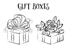 Gift Box Contours. Holiday Gift Boxes with Bow and Rose Flower, Black Contours Isolated on White Background. Vector Royalty Free Stock Photography