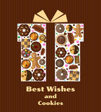Gift box with cookies stock illustration
