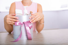 Gift box with cosmetics Royalty Free Stock Photos
