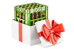 Gift box with crate full with beer bottles, 3D rendering. Isolated on white background Royalty Free Stock Photos
