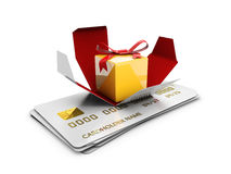 A Gift Box on the credit cards, Special Discount template. 3d Illustration Stock Image