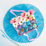 Gift box on the crocheted napkin Stock Images