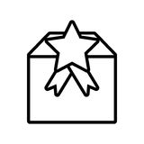 gift box cube star ribbon present outline Stock Images