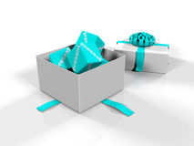 Gift box, cubes with the image of percent on a white background, 3d renderer,. 3d renderer, gift box, cubes with the image of percent on a white background Royalty Free Stock Photography
