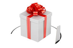 Gift box with cutting saw. 3D Stock Photography