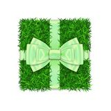 Gift box 3D. Green grass box top view, green ribbon bow isolated white background. Nature friendly design. Eco packaging. Concept recycle. Organic lawn, meadow royalty free illustration