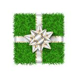 Gift box 3D. Green grass box top view, silver ribbon bow isolated white background. Nature friendly design. Eco. Packaging. Concept recycle. Organic lawn meadow royalty free illustration