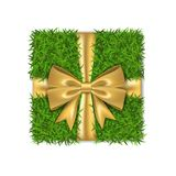 Gift box 3D. Green grass box top view, gold ribbon bow, isolated white background. Nature friendly design. Eco packaging. Concept recycle. Organic lawn, meadow royalty free illustration