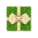 Gift box 3D. Green grass box top view, gold ribbon bow, isolated white background. Nature friendly design. Eco packaging. Concept recycle. Organic lawn, meadow stock illustration