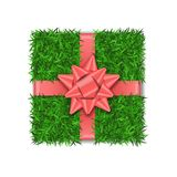 Gift box 3D. Green grass box top view, pink ribbon bow isolated white background. Nature friendly design. Eco packaging. Concept recycle. Organic lawn, meadow royalty free illustration