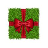 Gift box 3D. Green grass box top view, red ribbon bow, isolated white background. Nature friendly design. Eco packaging. Concept recycle. Organic lawn, meadow vector illustration