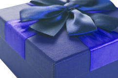 Gift Box of dark blue color Royalty Free Stock Image