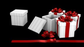 Gift Box Dark Room Royalty Free Stock Photo