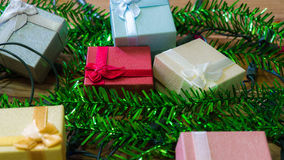 Gift box and decorated for Christmas and New Year. Used for back. Ground Stock Photography
