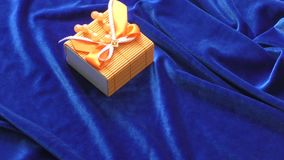 Gift in a box. Decorated with colorful ribbons stock video footage